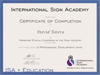 International Sign Academy Certifications